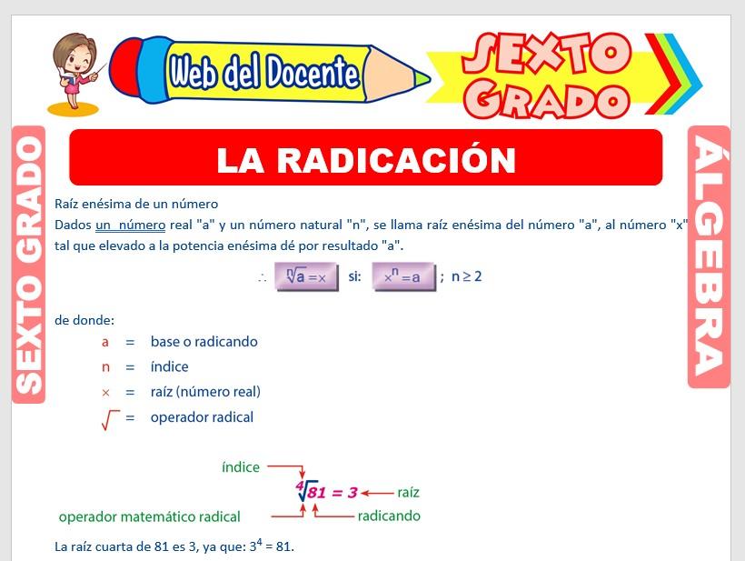 Ficha de La Radicación y sus Propiedades para Sexto Grado de Primaria