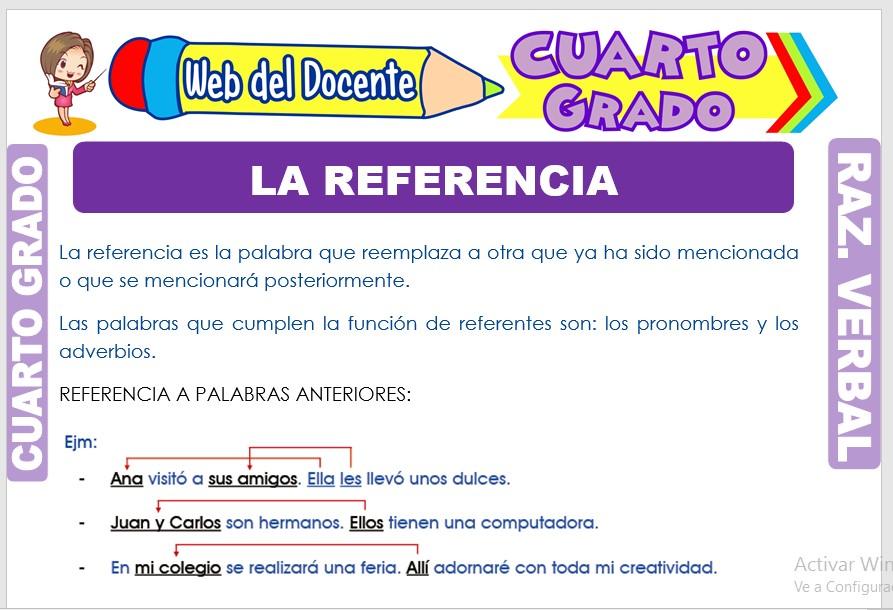 Ficha de La Referencia para Cuarto Grado de Primaria
