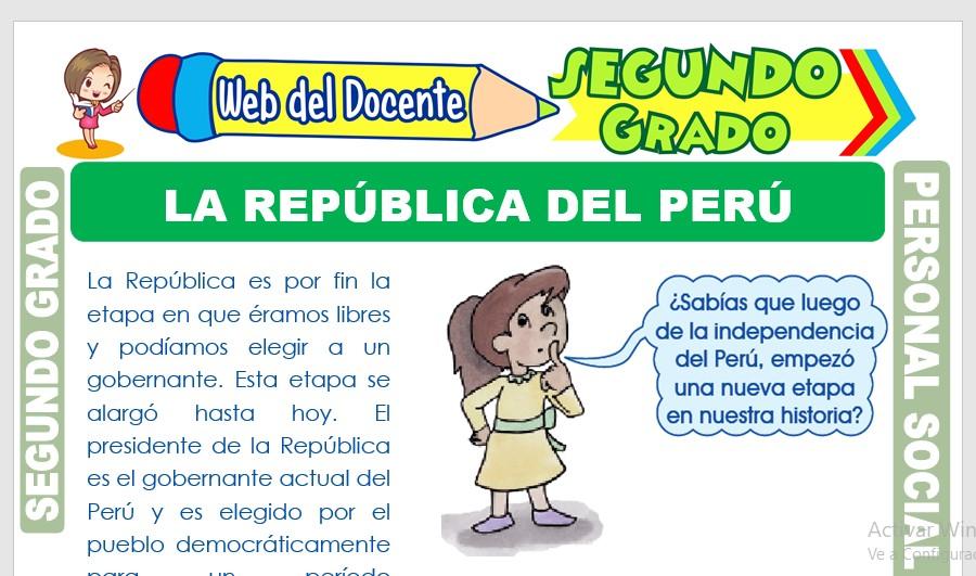 Ficha de La República del Perú para Segundo Grado de Primaria