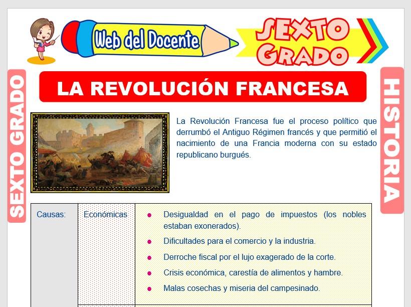 Ficha de La Revolución Francesa para Sexto Grado de Primaria