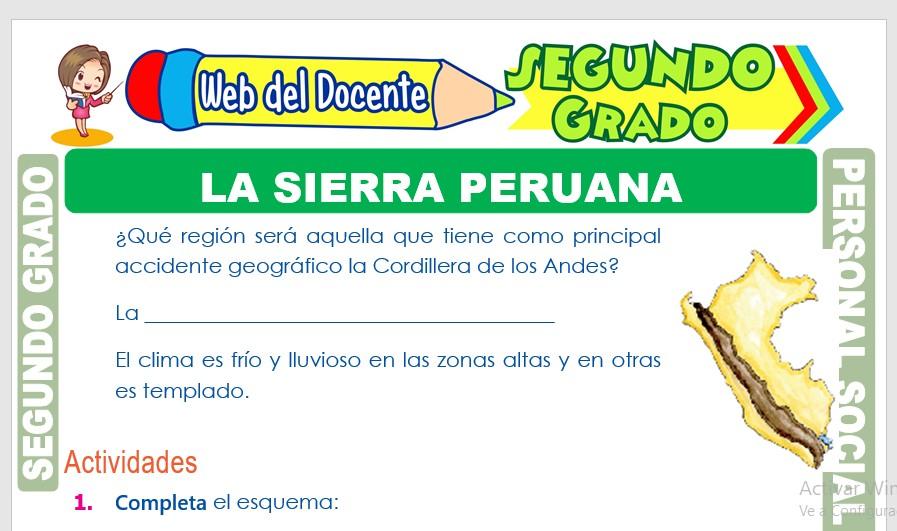 Ficha de La Sierra Peruana para Segundo Grado de Primaria