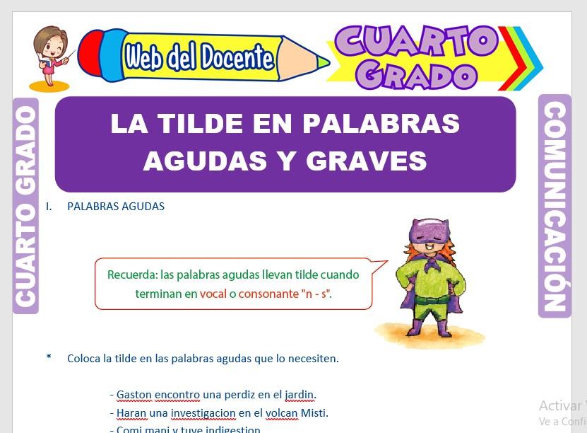 Ficha de La Tilde en Palabras Agudas y Graves para Cuarto Grado de Primaria