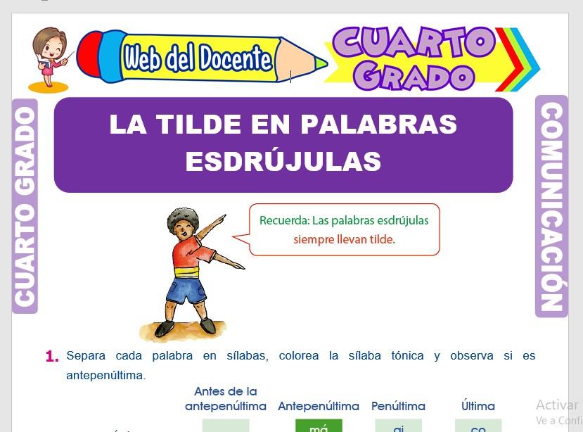 Ficha de La Tilde en Palabras Esdrújulas para Cuarto Grado de Primaria