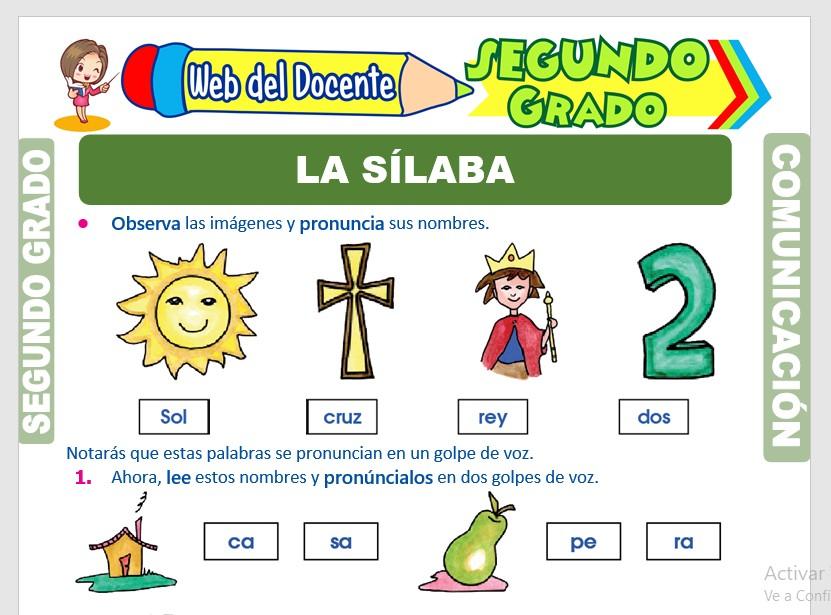 Ficha de La sílaba para Segundo Grado de Primaria