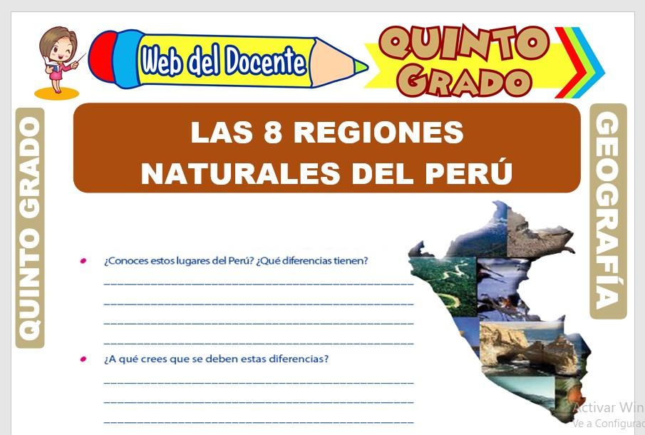 Ficha de Las 8 Regiones Naturales del Perú para Quinto Grado de Primaria