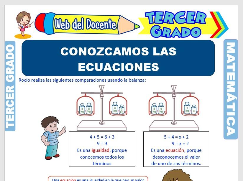 Ficha de Las Ecuaciones para Tercer Grado de Primaria