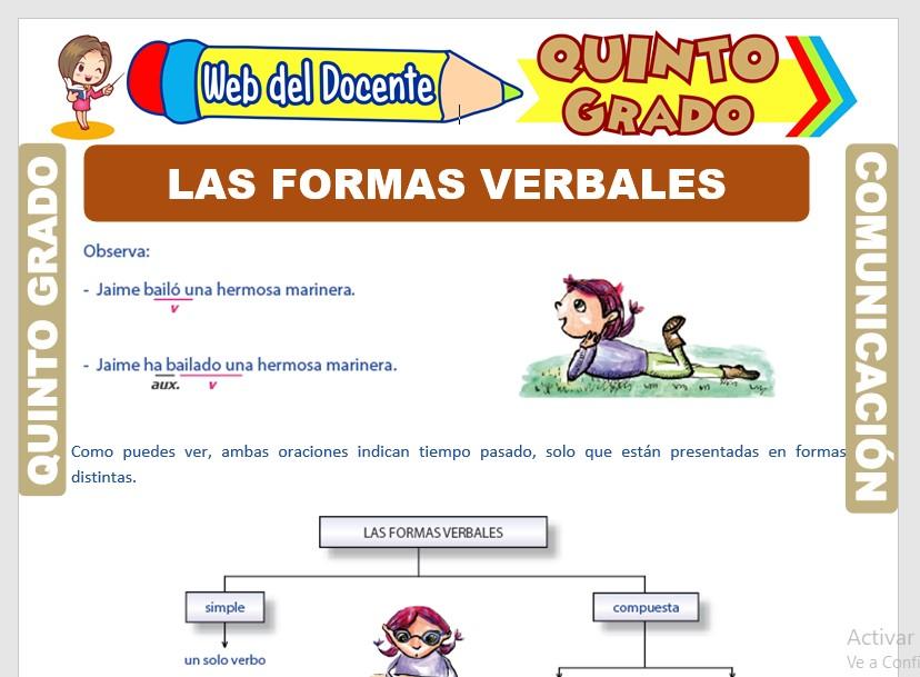 Ficha de Las Formas Verbales para Quinto Grado de Primaria