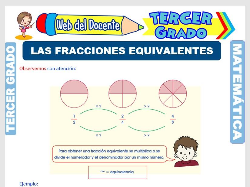 Ficha de Las Fracciones Equivalentes para Tercer Grado de Primaria
