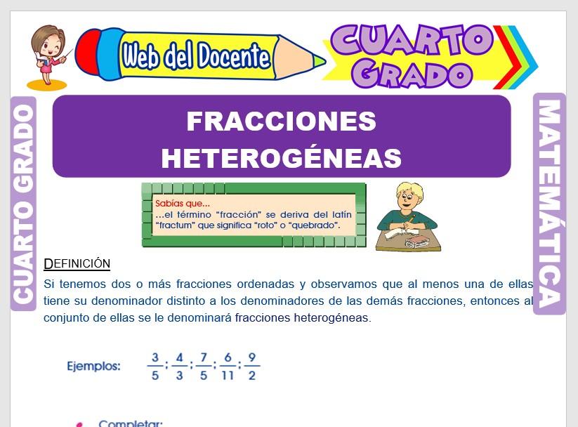 Ficha de Las Fracciones Heterogeneas para Cuarto Grado de Primaria