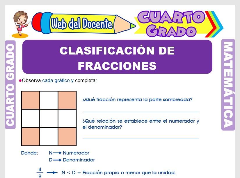 Ficha de Las Fracciones y su Clasificación para Cuarto Grado de Primaria