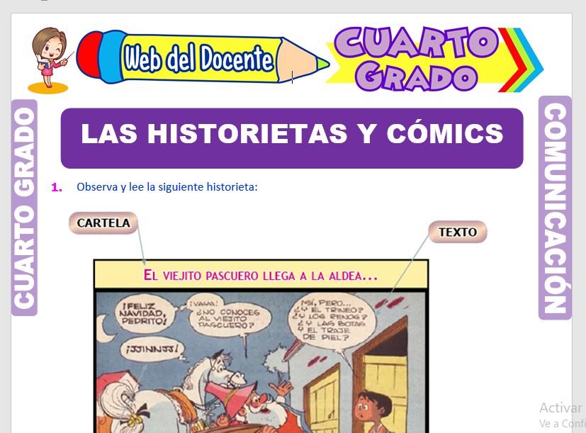 Ficha de Las Historietas y Cómics para Cuarto Grado de Primaria