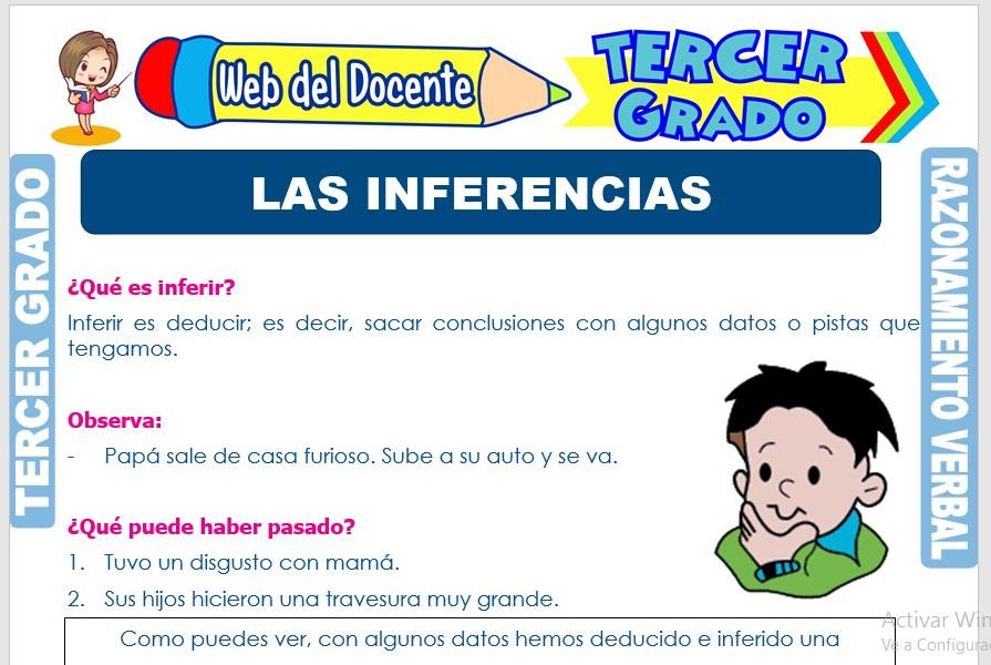 Ficha de Las Inferencias para Tercer Grado de Primaria