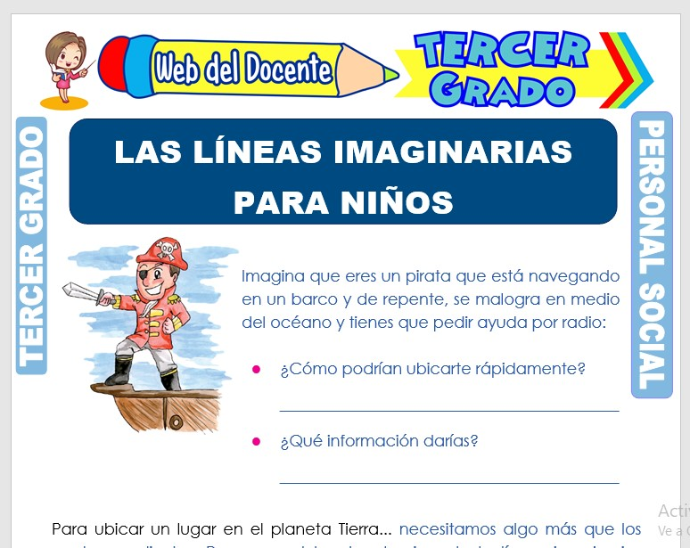 Ficha de Las Líneas Imaginarias para Niños para Tercer Grado de Primaria