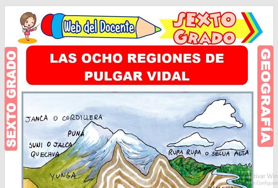 Ficha de Las Ocho Regiones de Pulgar Vidal para Sexto Grado de Primaria