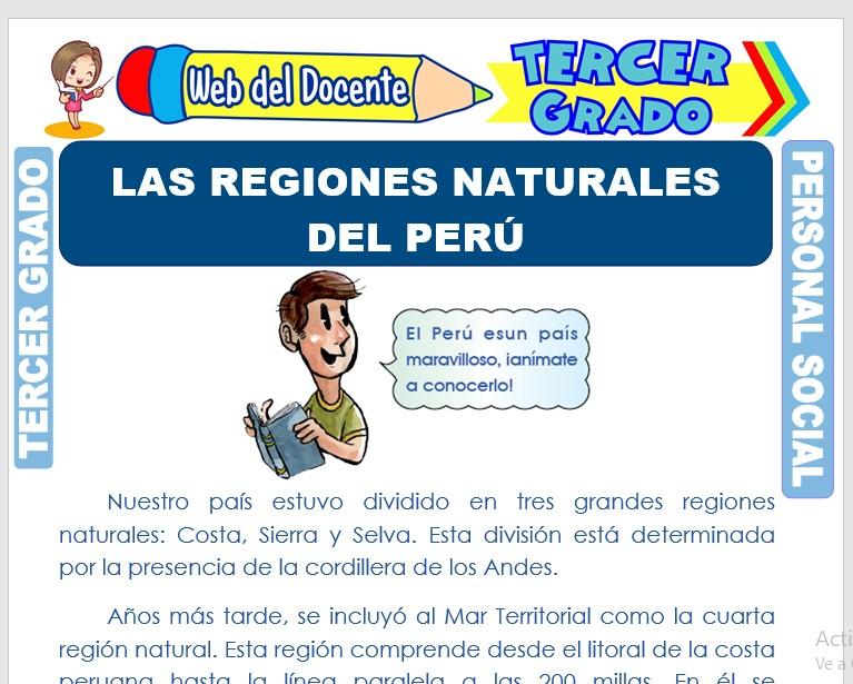 Ficha de Las Regiones Naturales del Perú para Tercer Grado de Primaria