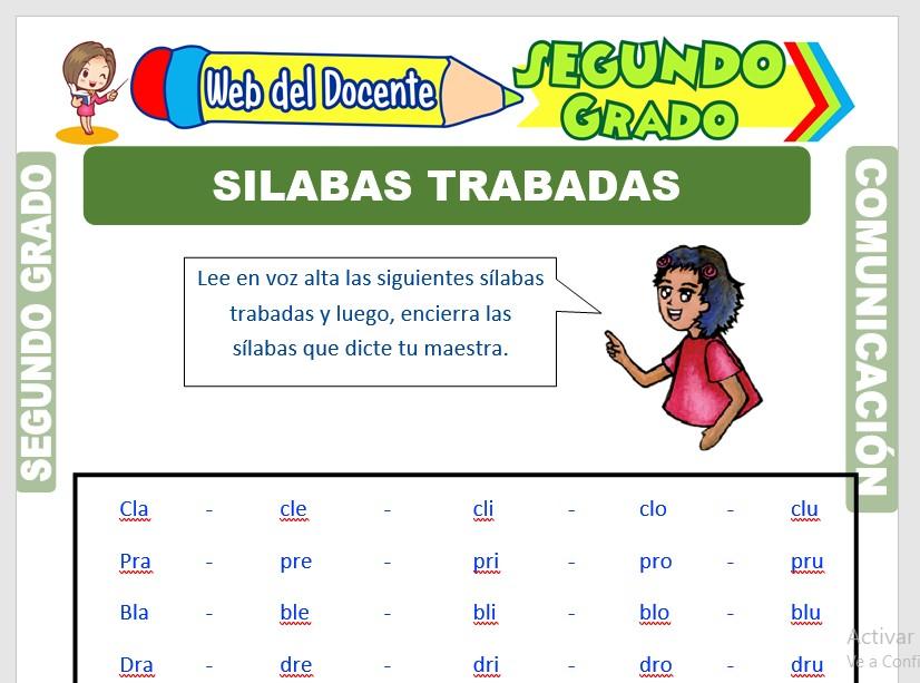 Ficha de Las Sílabas Trabadas para Segundo Grado de Primaria