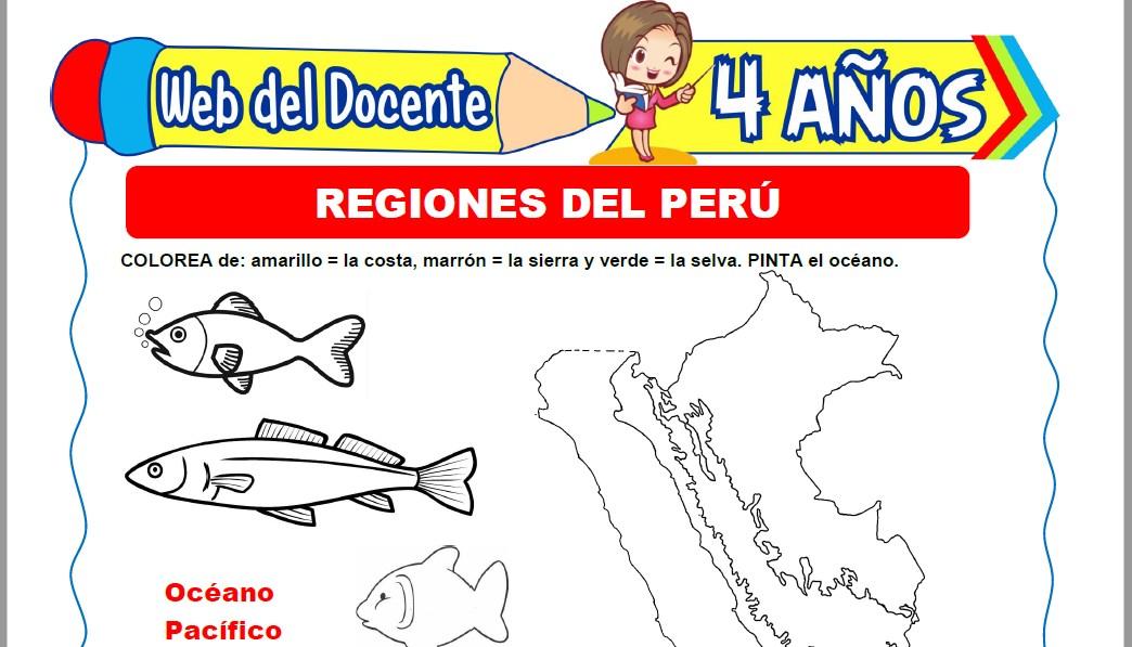 Muestra de la Ficha de Las Tres Regiones del Perú para Niños de 4 Años