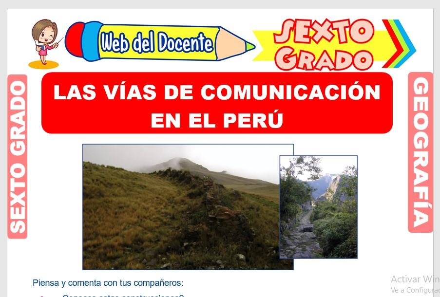 Ficha de Las Vías de Comunicación en el Perú para Sexto Grado de Primaria