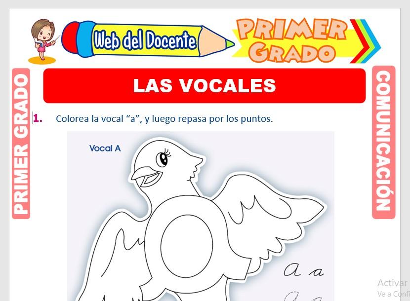 Ficha de Las Vocales para Primero de Primaria
