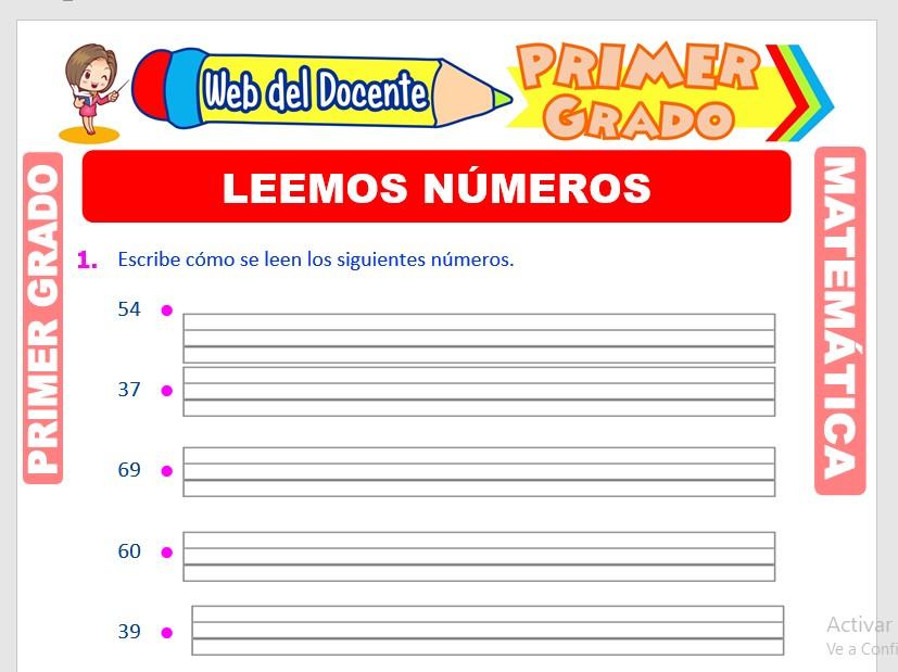 Ficha de Lectura de Números para Primer Grado de Primaria