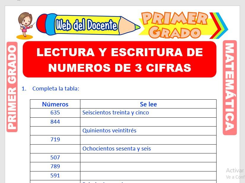 Ficha de Lectura y Escritura de Números de 3 Cifras para Primer Grado de Primaria