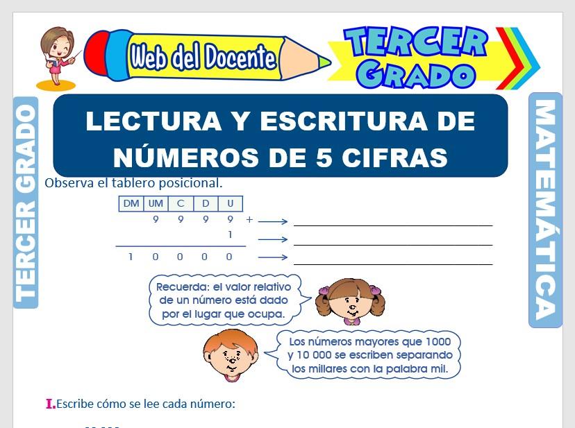 Ficha de Lectura y Escritura de Números de 5 Cifras para Tercer Grado de Primaria
