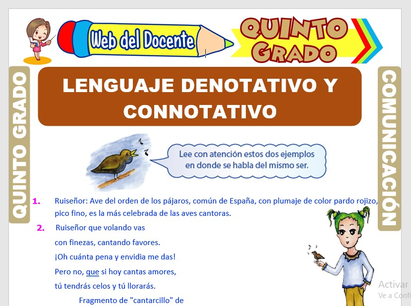 Lenguaje Denotativo y Connotativo para Quinto Grado de Primaria