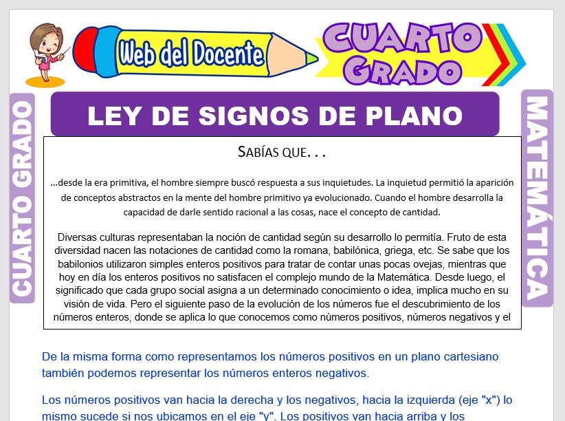 Ficha de Ley de Signos en el Plano Cartesiano para Cuarto Grado de Primaria