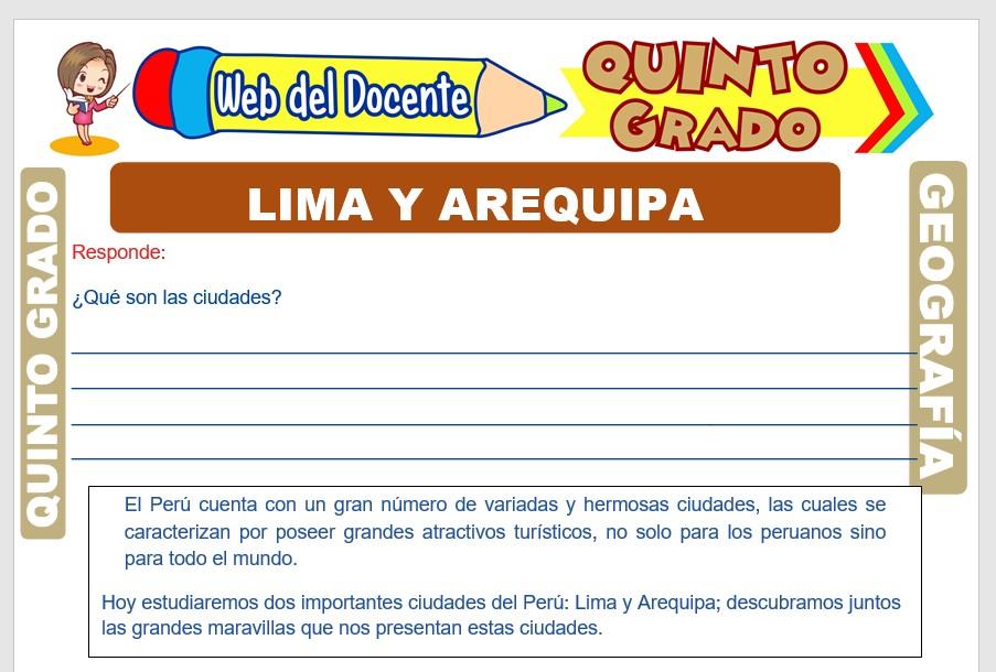 Ficha de Lima y Arequipa para Quinto Grado de Primaria