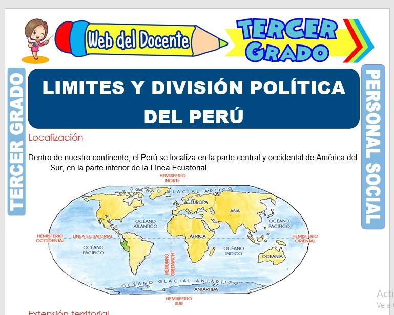 Ficha de Limites y División Política del Perú para Tercer Grado de Primaria