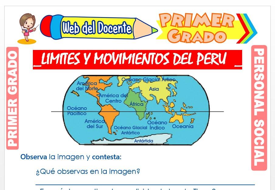 Ficha de Límites y Movimientos del Perú para Primer Grado de Primaria