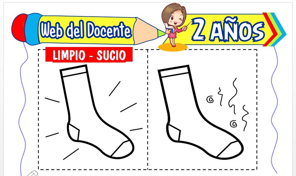 Ficha de Limpío y Sucio para Niños de 2 Años
