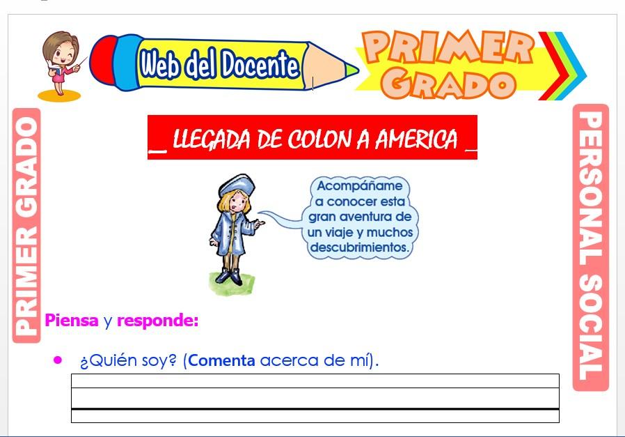 Ficha de Llegada de Colón a América para Primer Grado de Primaria