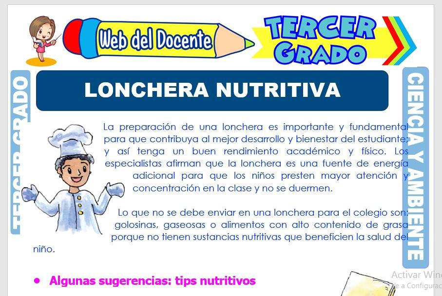 Ficha de Lonchera Nutritiva para Tercer Grado de Primaria