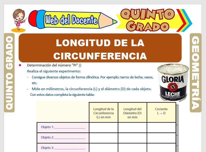 Longitud de las Circunferencias para Quinto Grado de Primaria