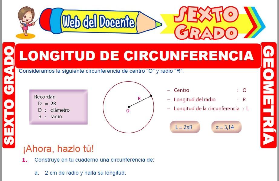 Muestra de la Ficha de Longitud de una Circunferencia para Sexto Grado de Primaria