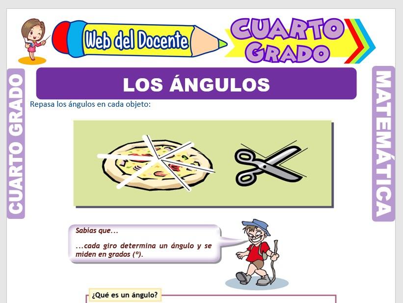 Ficha de Los Ángulos y su Clasificación para Cuarto Grado de Primaria