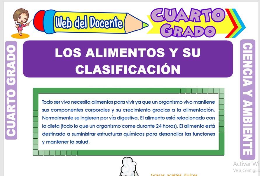 Ficha de Los Alimentos y su Clasificación para Cuarto Grado de Primaria