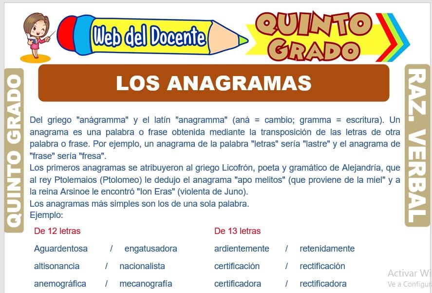 Ficha de Los Anagramas para Quinto Grado de Primaria