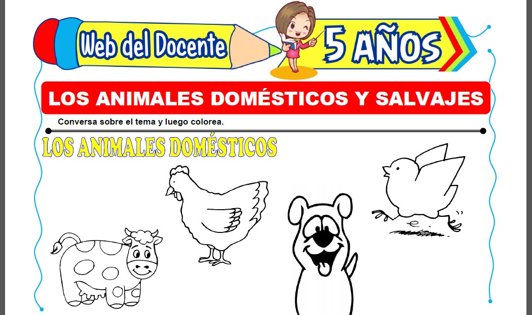 Los Animales Domésticos y Salvajes para Niños de 5 Años