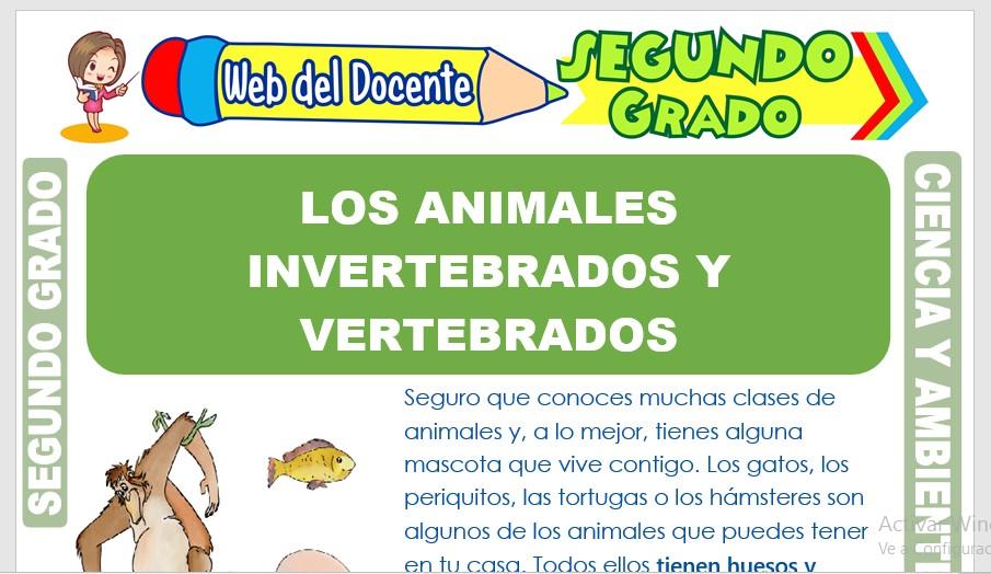Ficha de Los Animales Invertebrados y Vertebrados para Segundo Grado de Primaria