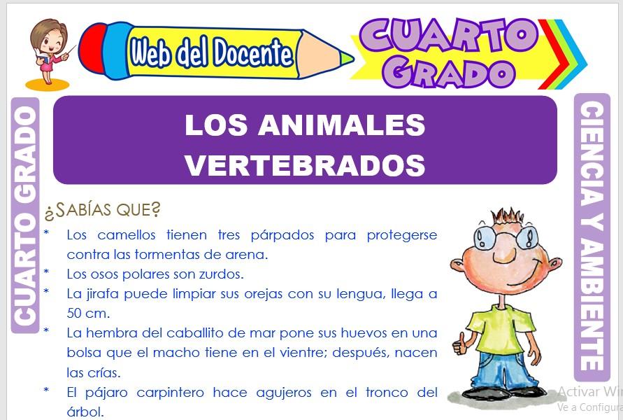 Ficha de Los Animales Vertebrados para Cuarto Grado de Primaria