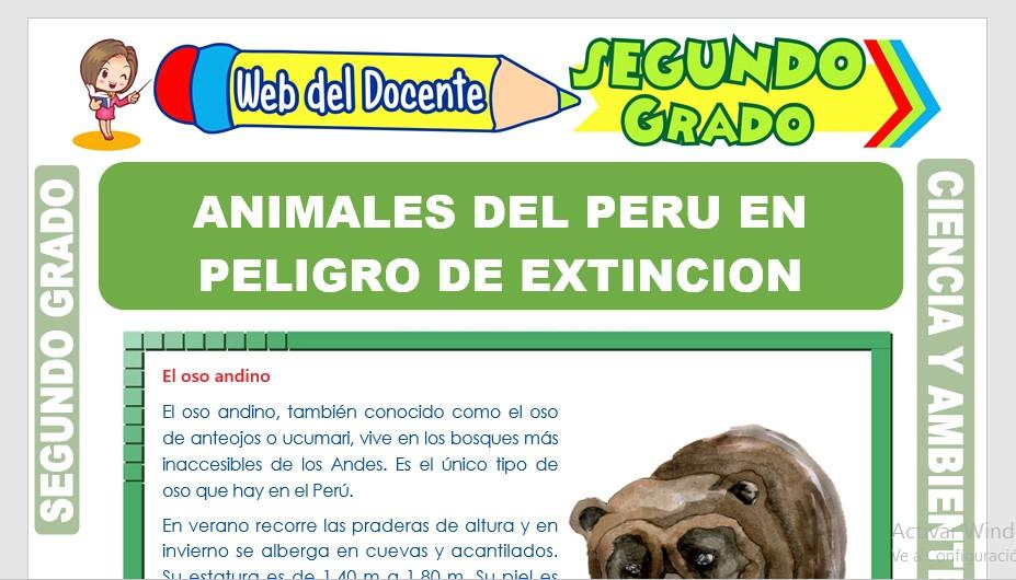 Ficha de Animales del Perú en Peligro de Extinción para Segundo Grado de Primaria