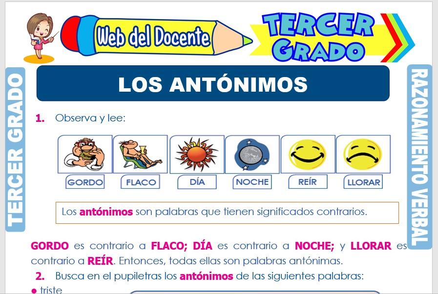 Ficha de Los Antónimos para Tercer Grado de Primaria