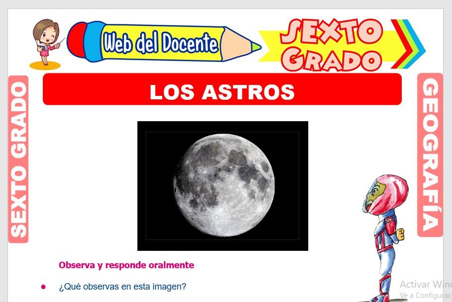 Ficha de Los Astros para Sexto Grado de Primaria