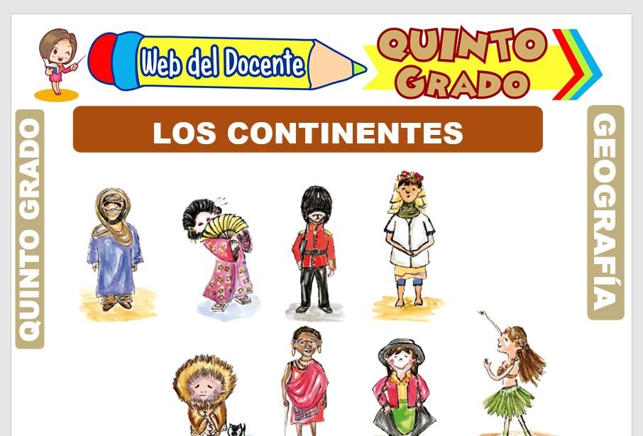 Ficha de Los Continentes para Quinto Grado de Primaria