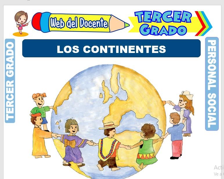 Ficha de Los Continentes para Niños para Tercer Grado de Primaria