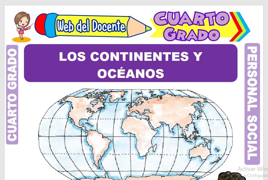 Ficha de Los Continentes y Océanos para Cuarto Grado de Primaria