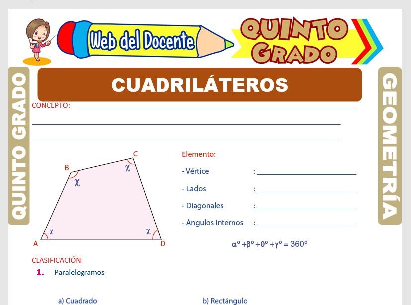 Ficha de Los Cuadriláteros para Quinto Grado de Primaria
