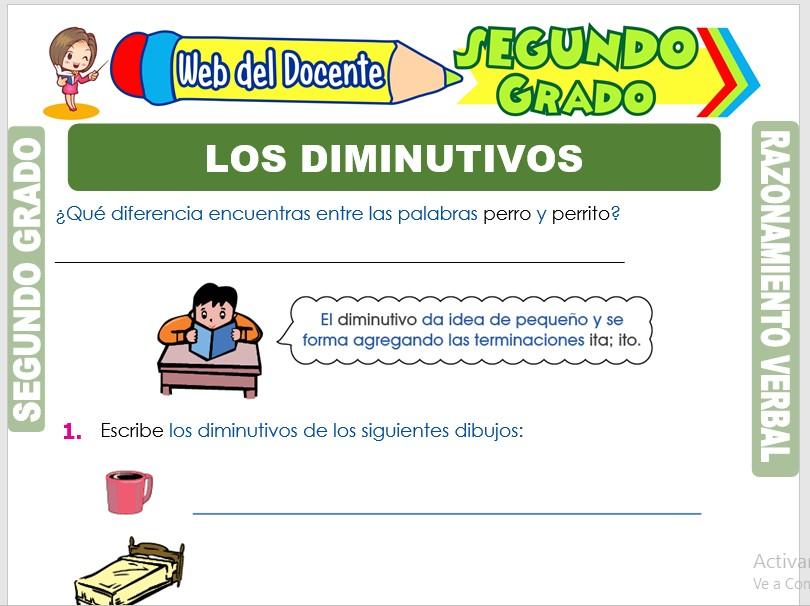 Ficha de Los Diminutivos para Segundo Grado de Primaria